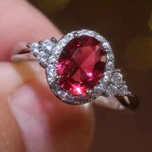 NEW Silver Oval Ruby Round Diamond Halo Ring